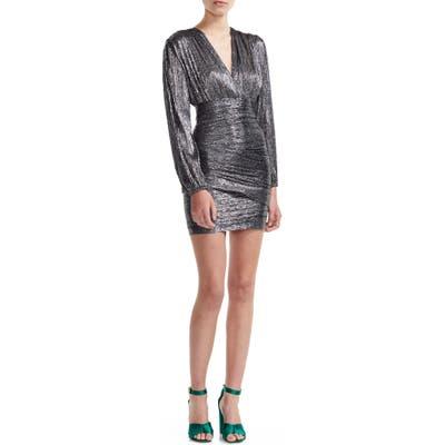 Maje Runny Long Sleeve Metallic Minidress, US / 40 FR - Metallic
