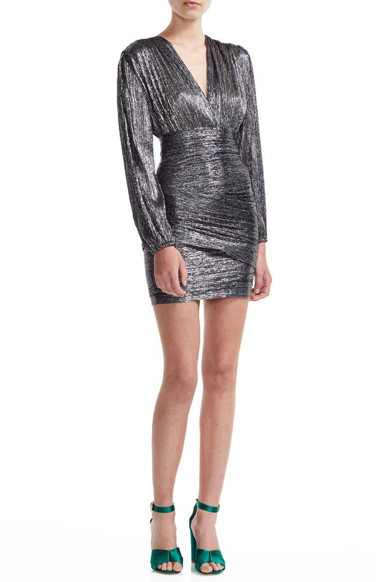 MAJE Runny Long Sleeve Metallic Minidress, Main, color, SILVER