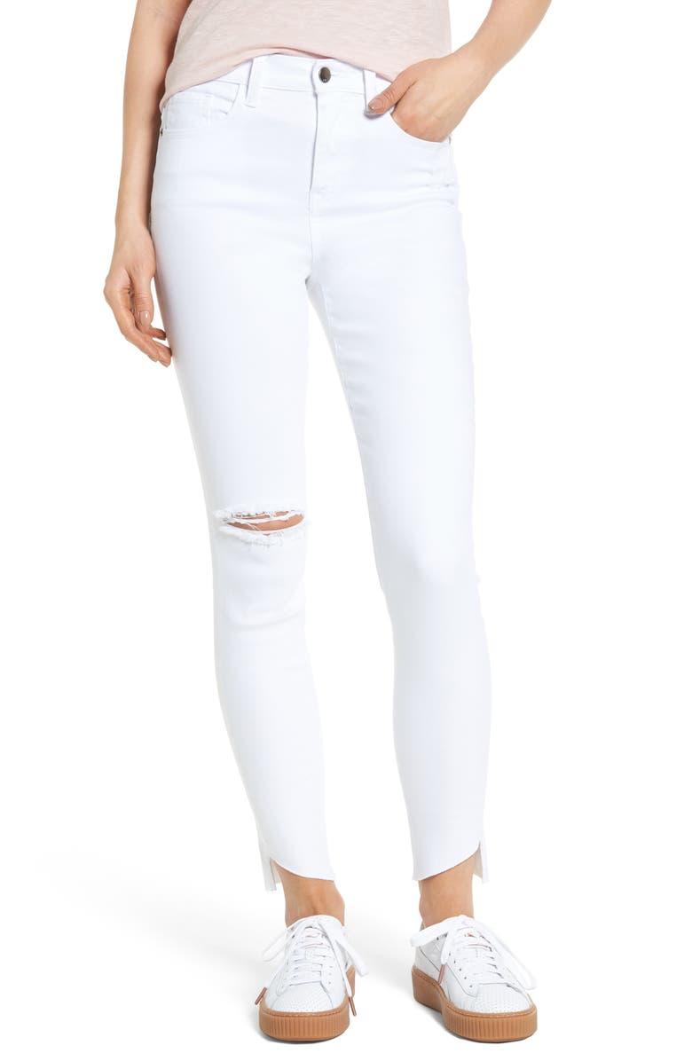 SP BLACK Angled Step Hem Skinny Jeans, Main, color, 100