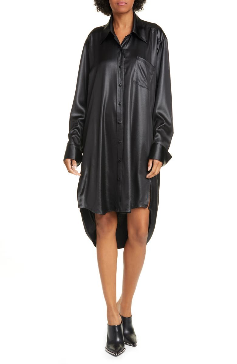 ALEXANDERWANG.T Wet Shine Wash & Go Oversize Long Sleeve Shirtdress, Main, color, 001