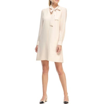Gal Meets Glam Collection Ines Tie Neck Long Sleeve Shift Dress, Ivory