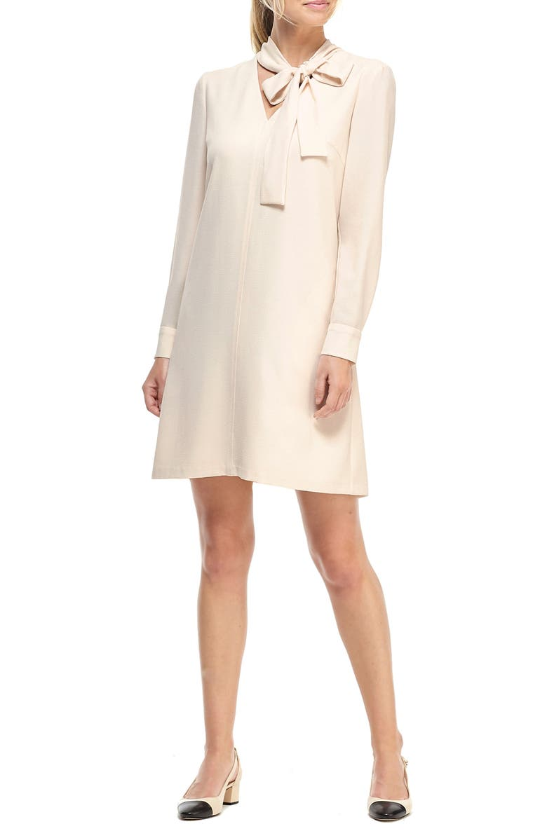 GAL MEETS GLAM COLLECTION Ines Tie Neck Long Sleeve Shift Dress, Main, color, 909