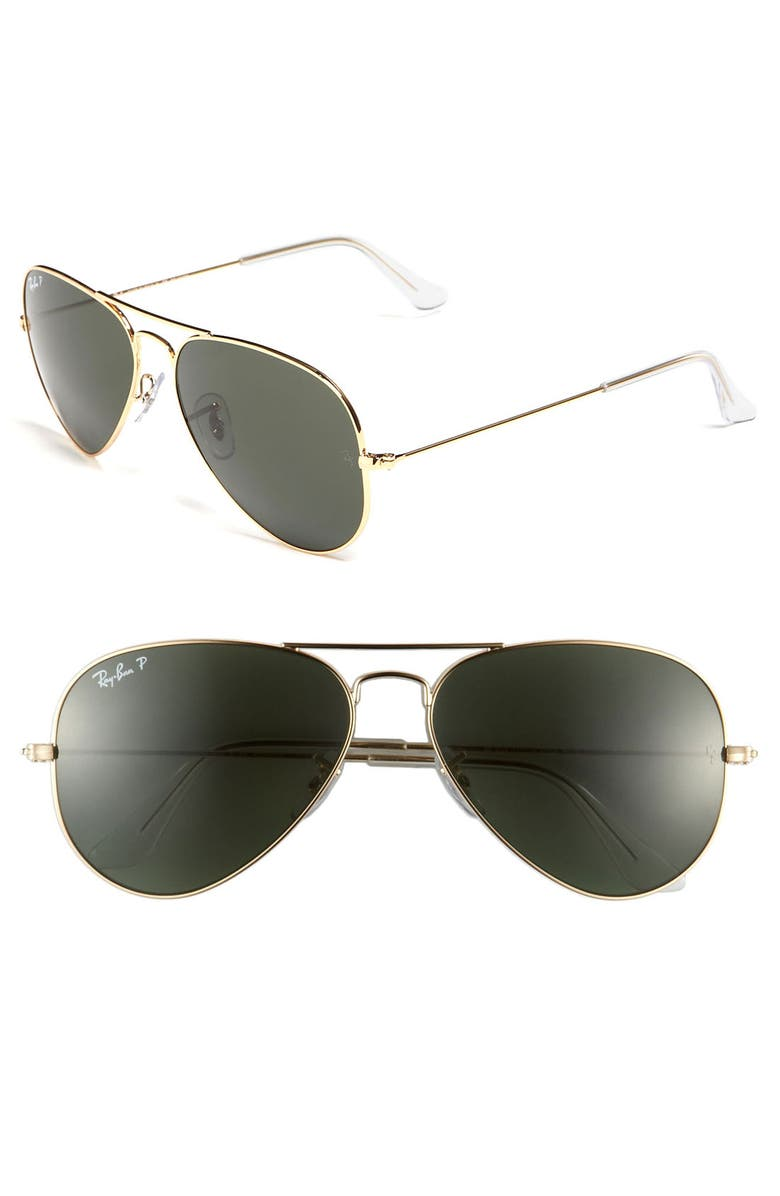 RAY-BAN 'Polarized Original Aviator' 58mm Sunglasses, Main, color, GOLD/ GREEN P