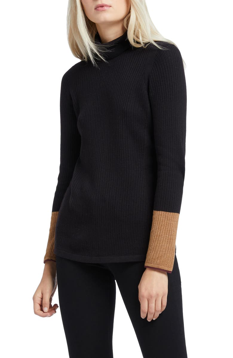 NIC+ZOE Balance Contrast Cuff Turtleneck Cotton Blend Sweater, Main, color, BLACK ONYX