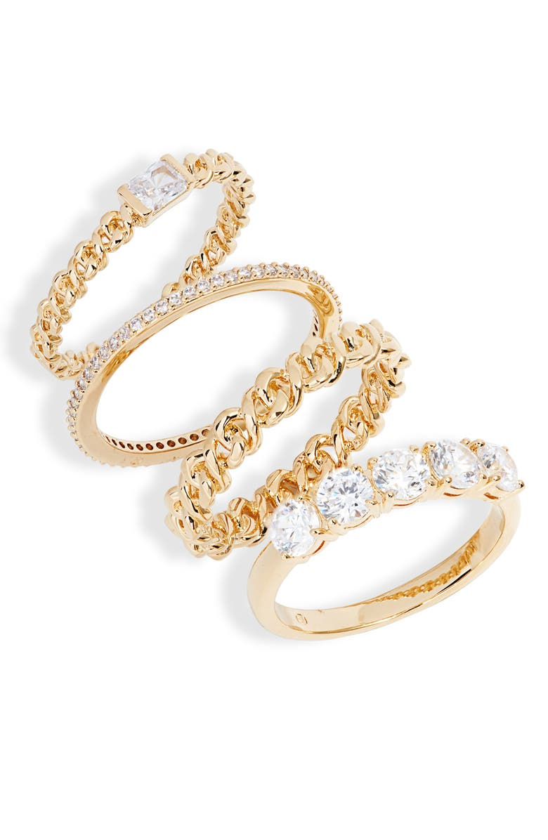 NADRI Zoe Set of 4 Stacking Rings, Main, color, GOLD
