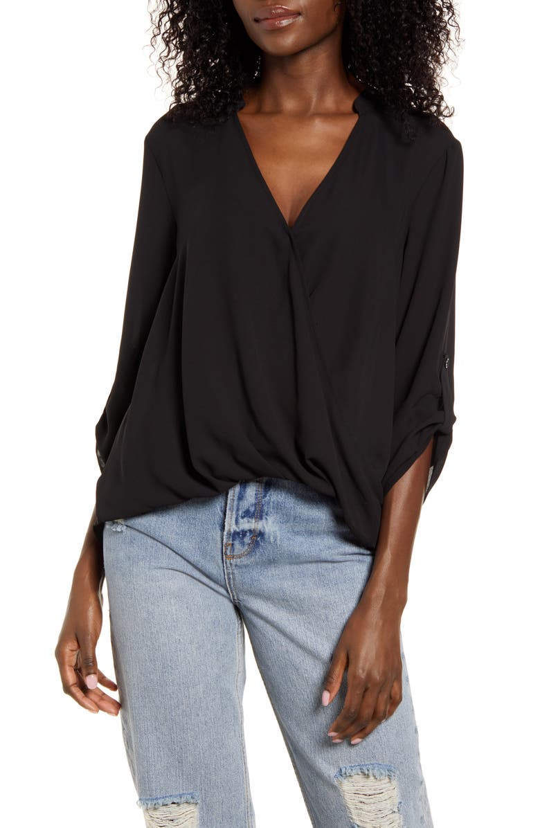 ALL IN FAVOR Print Wrap Front Gathered Hem Top, Main, color, BLACK