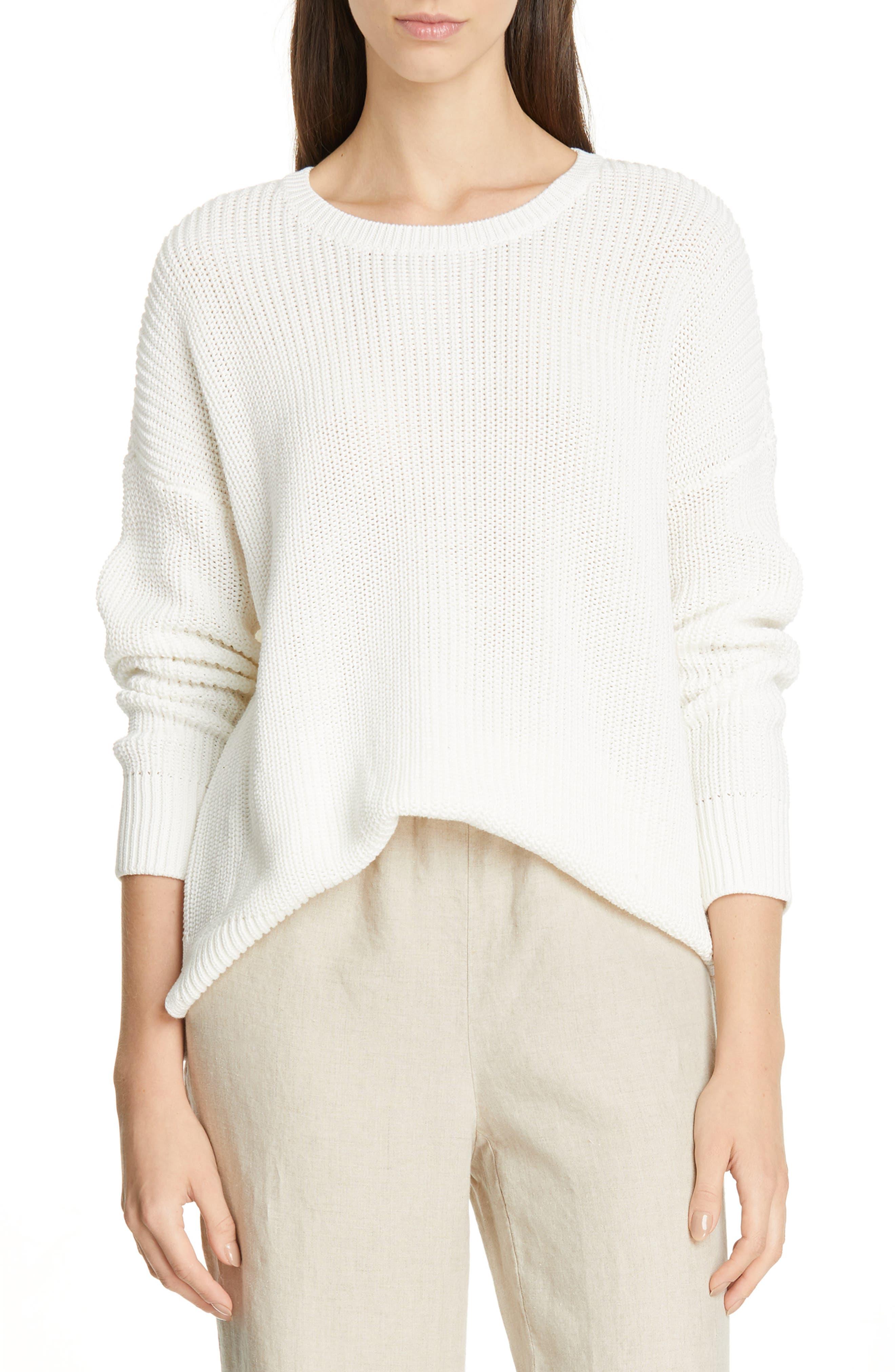 women's eileen fisher boxy organic cotton sweater, size x-large - ivory