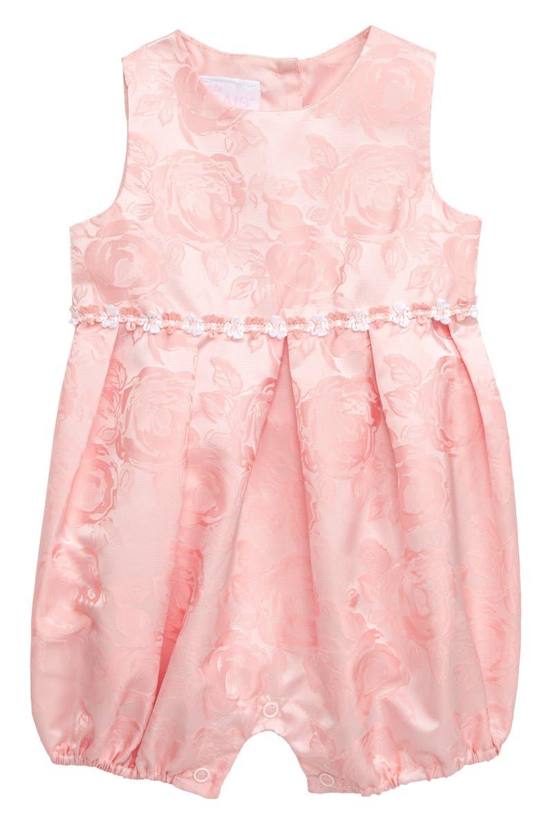 24576b2eb713b Frais Pleated Rose Jacquard Romper (Baby) | Nordstrom