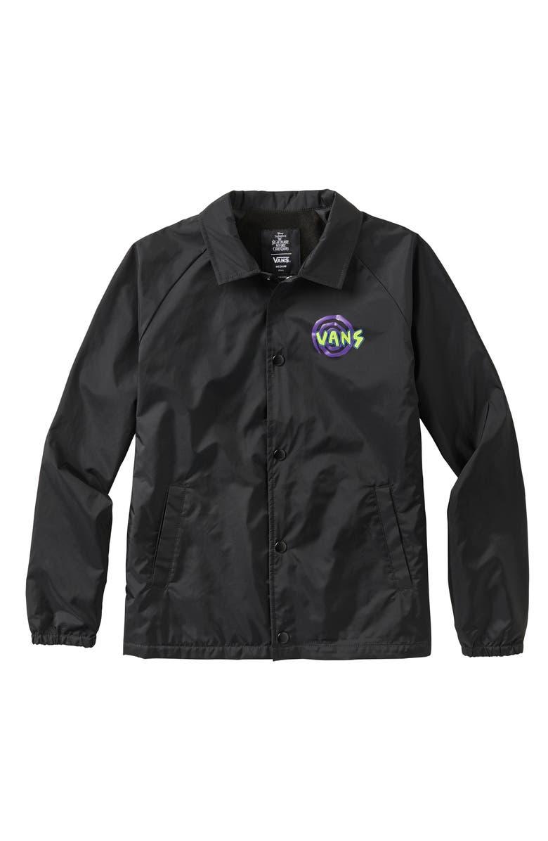 VANS The Nightmare Before Christmas Oogie Boogie Water Resistant Coach's Jacket, Main, color, BLACK