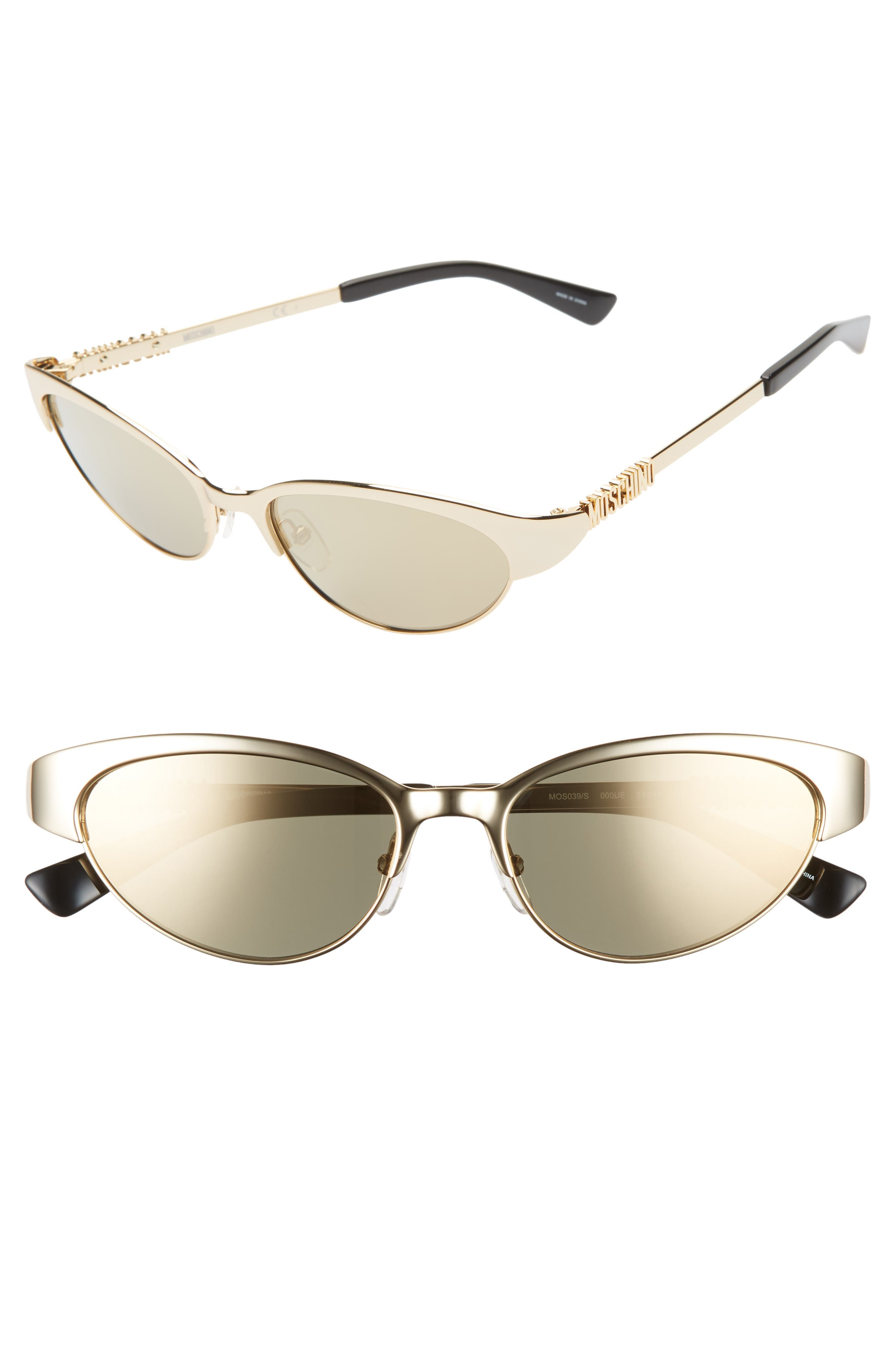 54mm Mirrored Cat Eye Sunglasses, Main, color, ROSE GOLD