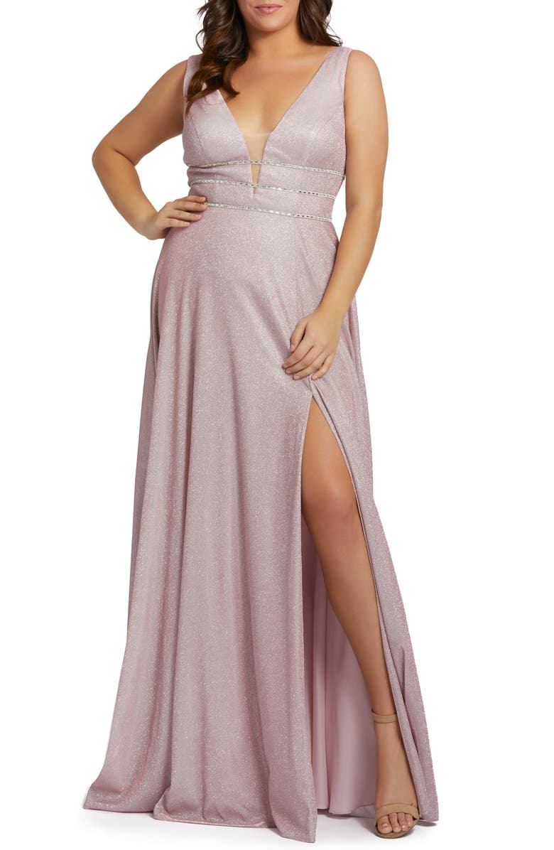MAC DUGGAL Metallic Plunge Neck Side Slit Gown, Main, color, 650