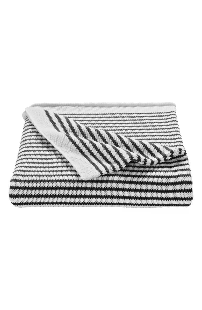 SPLENDID HOME DECOR Stripe Knit Cotton Throw, Main, color, CHARCOAL/ IVORY