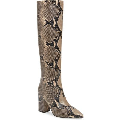 Paris Texas Python Embossed Knee High Boots, Brown