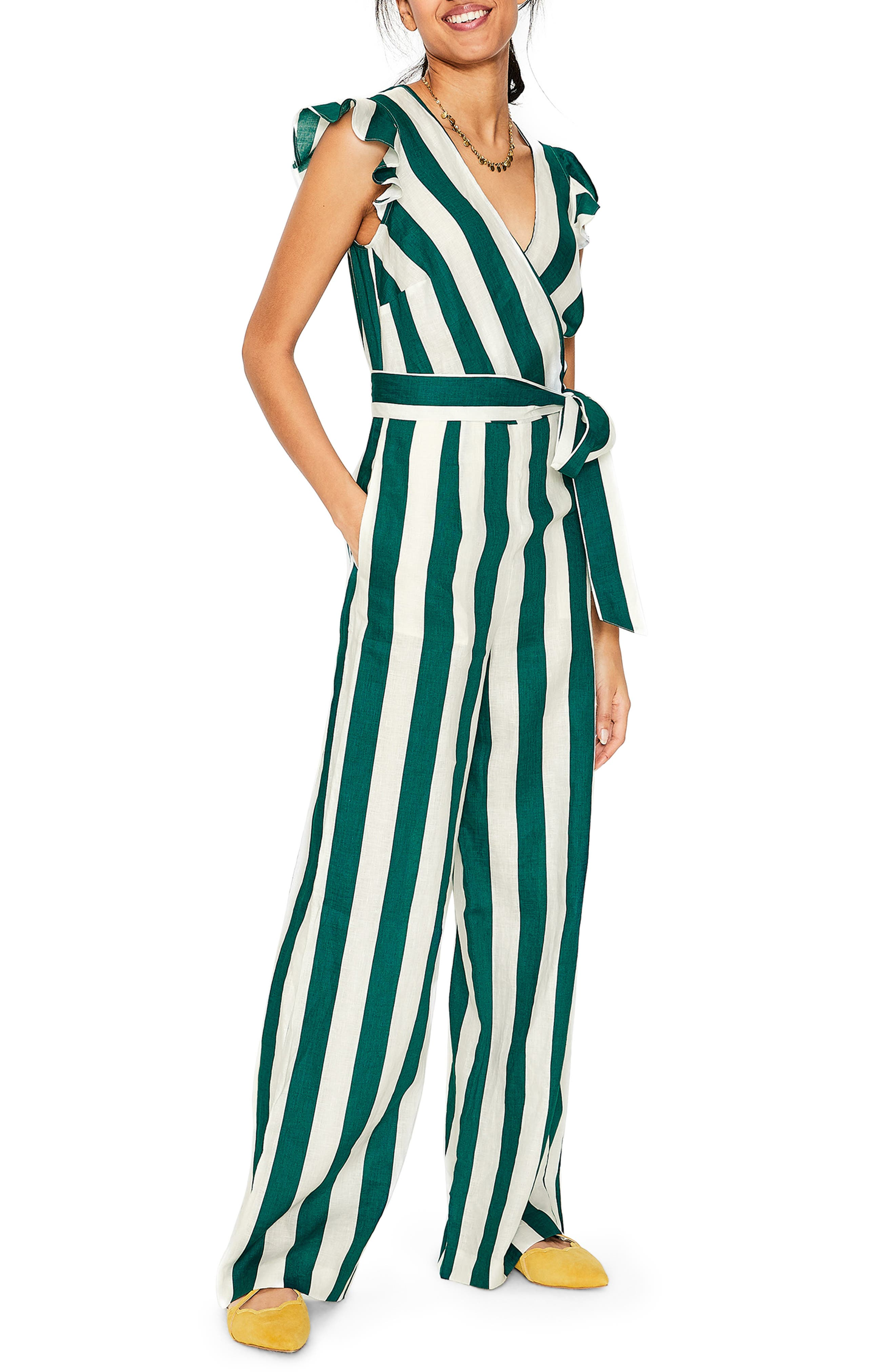 Petite Boden Mila Stripe Linen Jumpsuit, Green