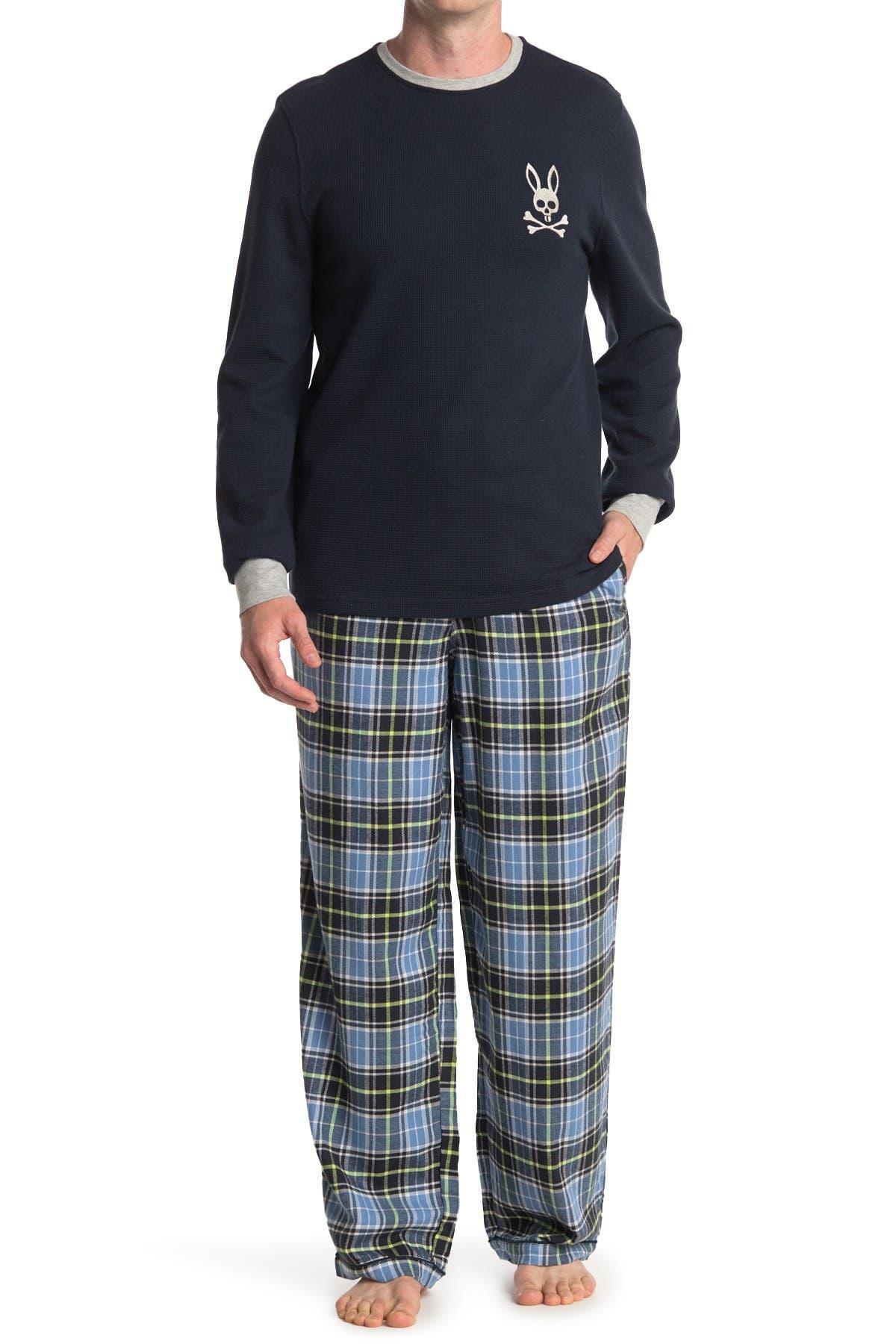 PSYCHO BUNNY Waffle Knit Bunny Lounge Long Sleeve Shirt NEW NWT