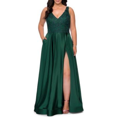 Plus Size La Femme Beaded Satin Gown, Green