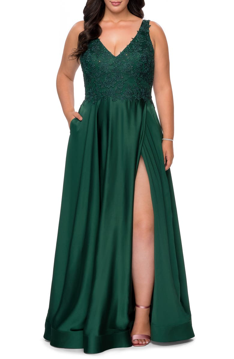 LA FEMME Beaded Sleeveless Satin Gown, Main, color, EMERALD