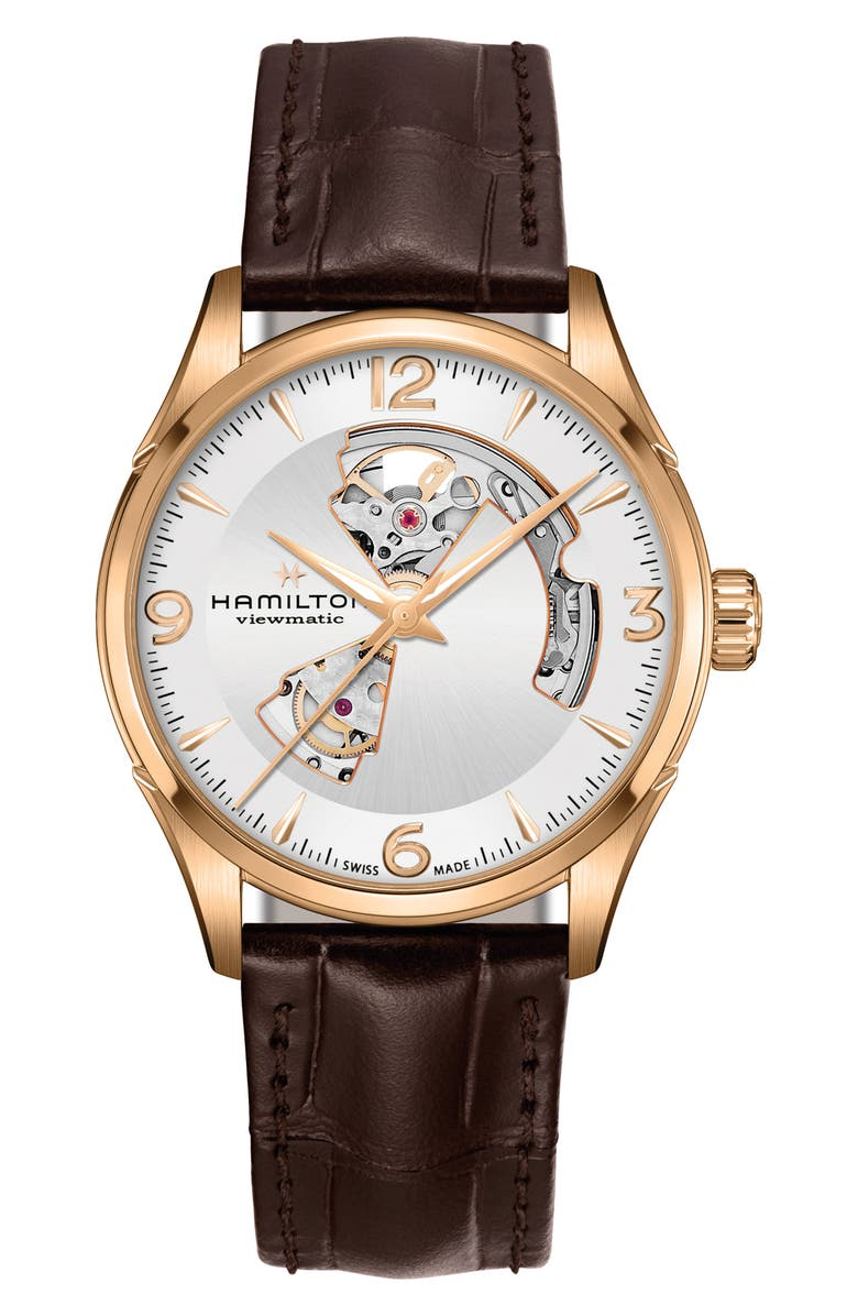 HAMILTON Jazzmaster Open Heart Automatic Leather Strap Watch, 42mm, Main, color, BROWN/ SILVER/ GOLD
