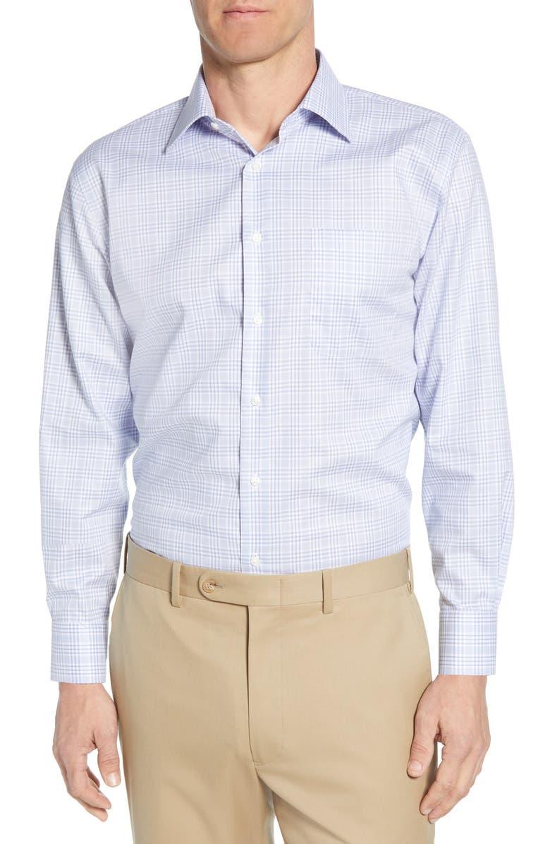 NORDSTROM MEN'S SHOP Traditional Fit Non-Iron Plaid Dress Shirt, Main, color, BLUE BRUNNERA