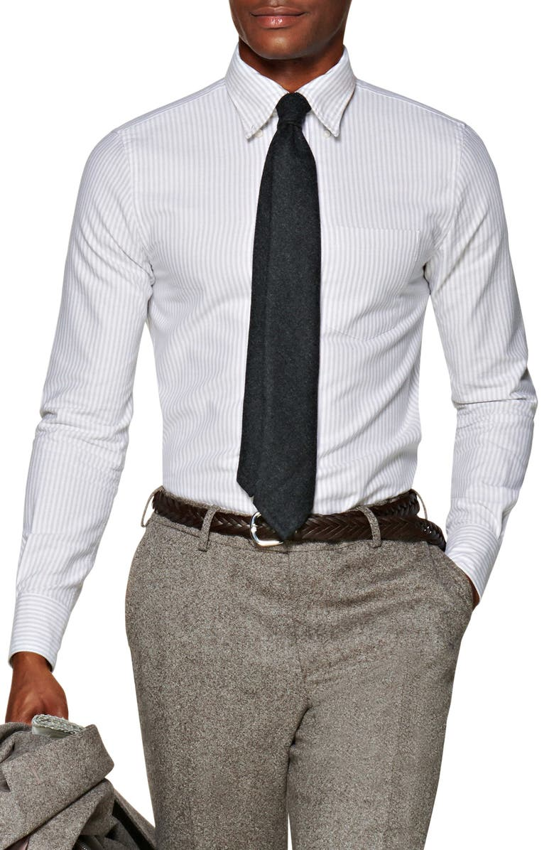 SUITSUPPLY Extra Slim Fit Stripe Button-Down Oxford Shirt, Main, color, GREY