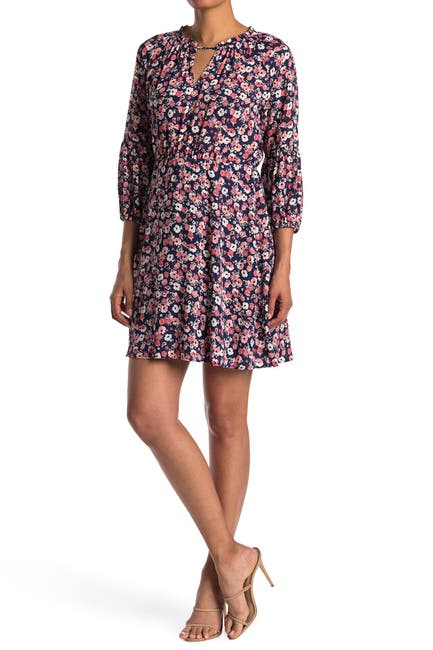Image of Collective Concepts Floral Long Sleeve Mini Dress