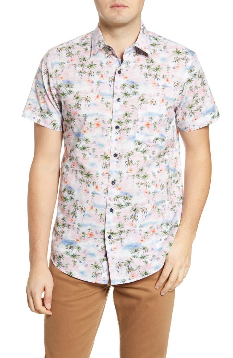 RODD & GUNN Maybeck Sports Fit Short Sleeve Button-Up Shirt, Main, color, QUARTZ