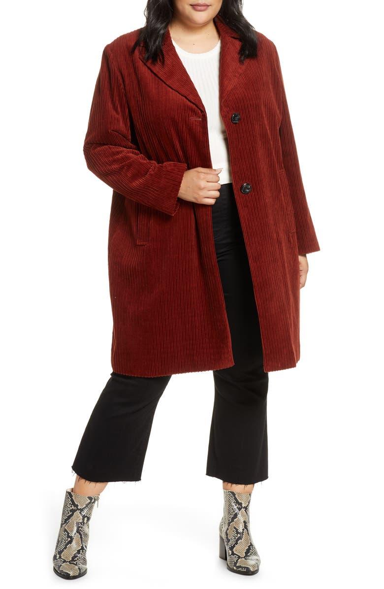 SAM EDELMAN Corduroy Reefer Coat, Main, color, 200