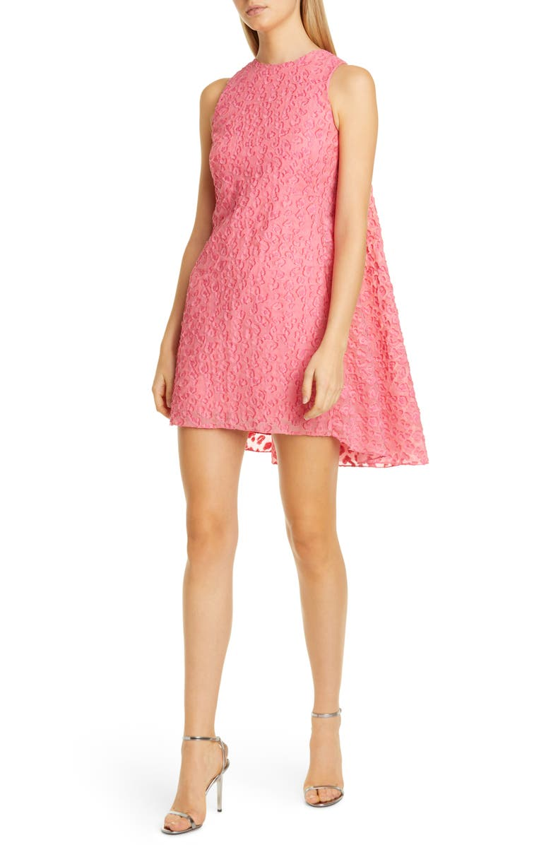BRANDON MAXWELL Fil Coupé Leopard Pattern High/Low Shift Dress, Main, color, PINK LEMONADE