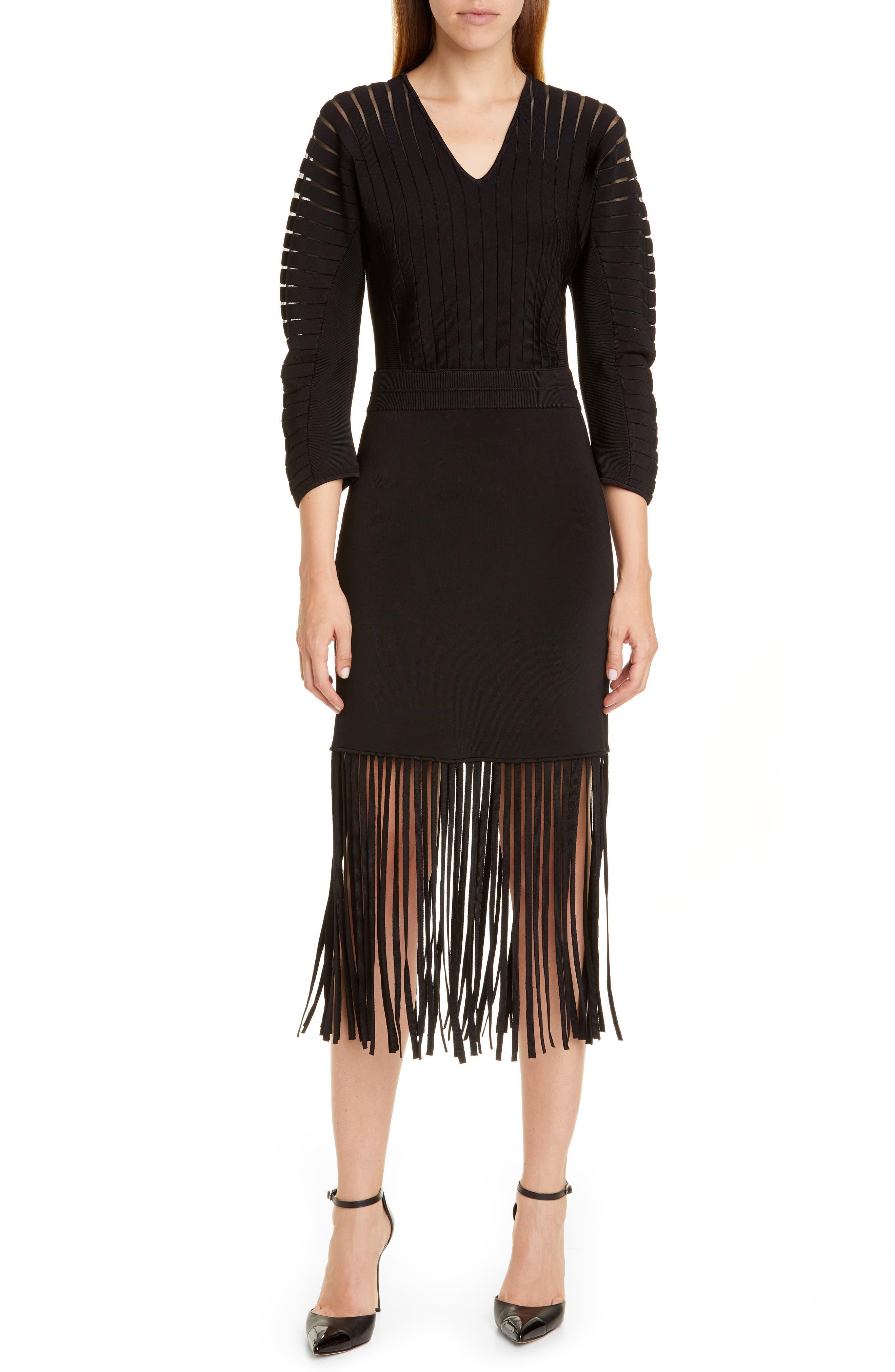 Yigal Azrouel Fringe Hem Midi Sweater Dress, Black
