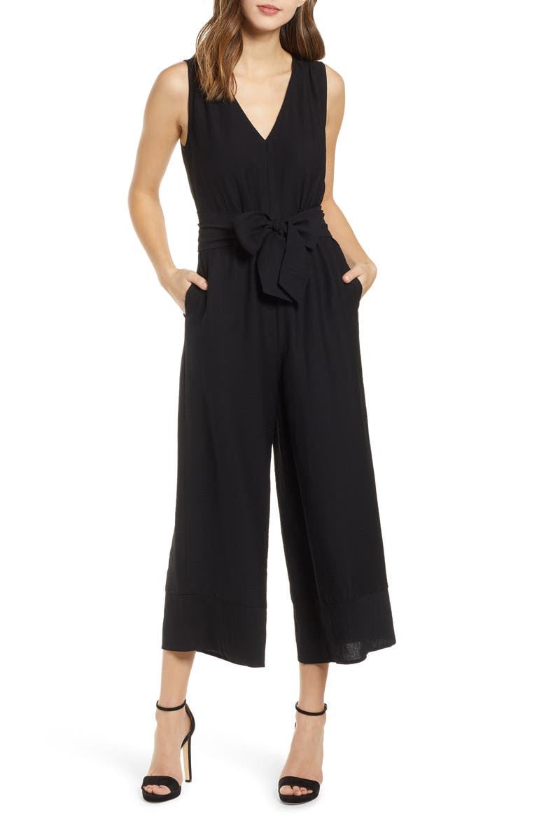 ALL IN FAVOR Tie Front Jumpsuit, Main, color, 001