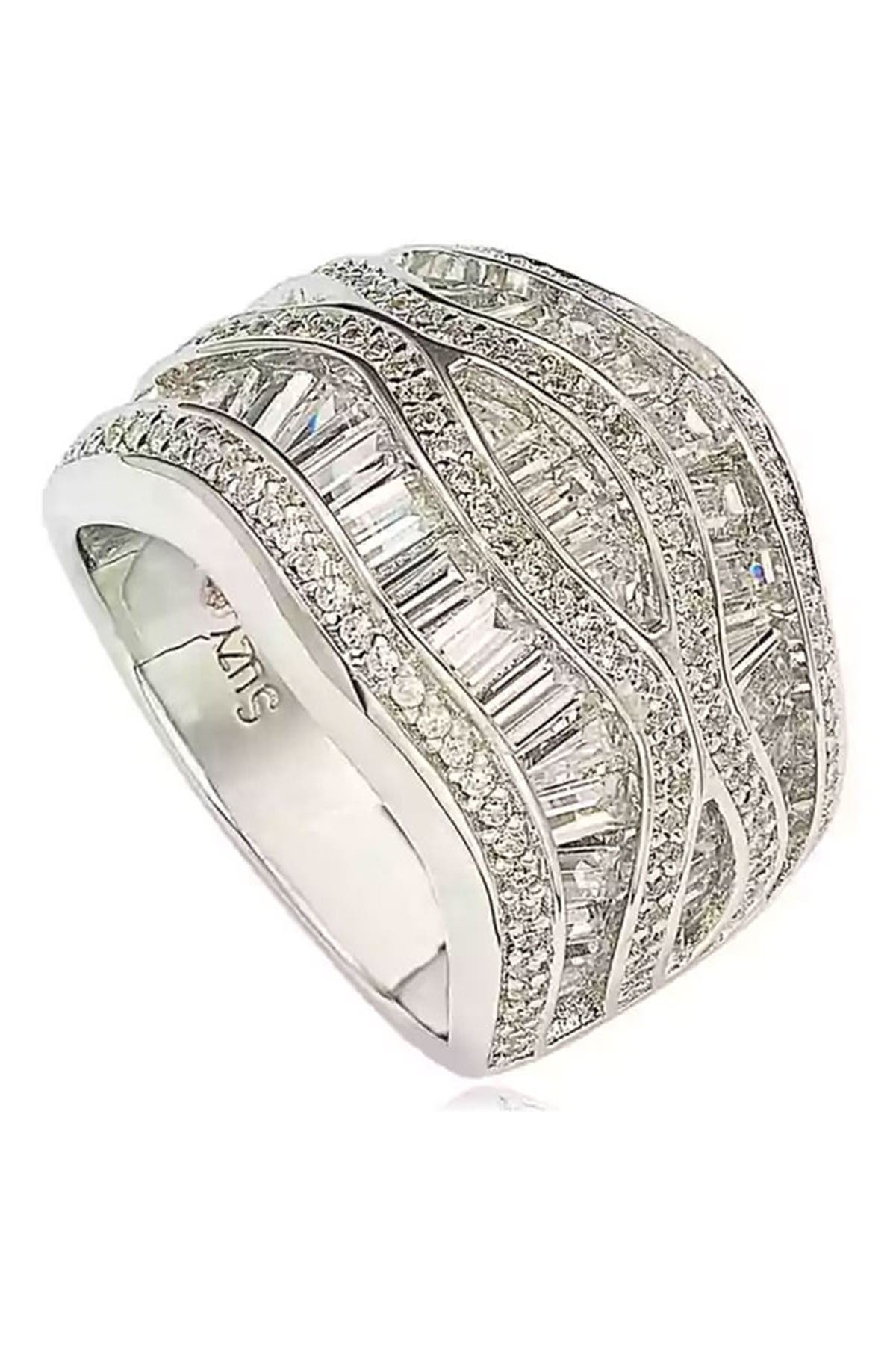 Image of Suzy Levian Sterling Silver Crisscross Chic CZ Ring