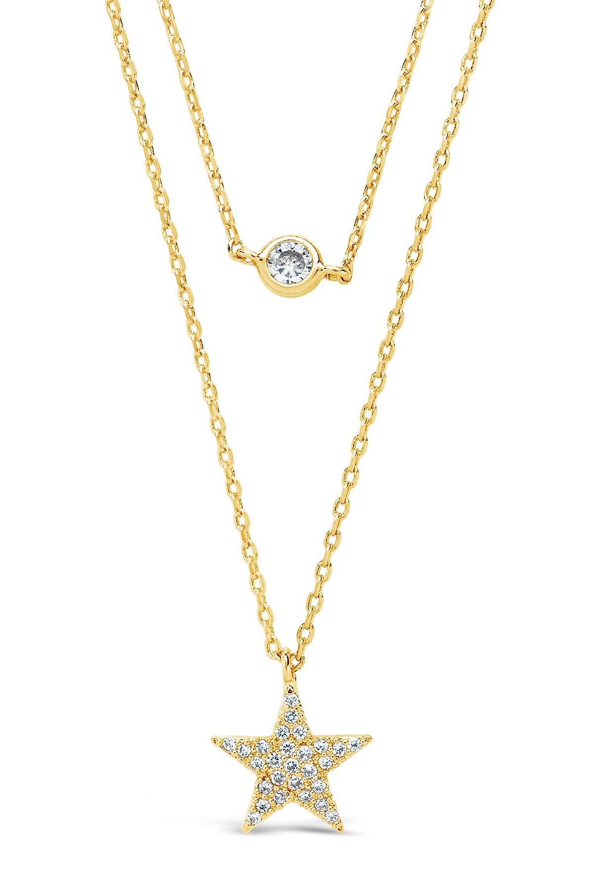 Sterling Forever 14K Yellow Gold Plated Star Pendant CZ Layered Necklace
