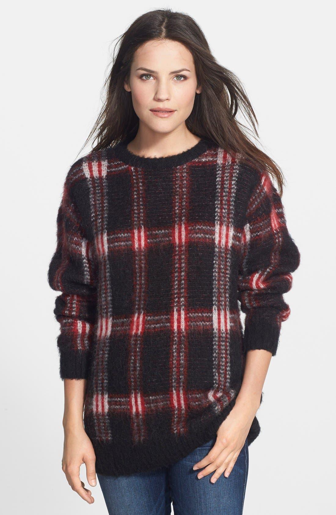 Plaid Crewneck Sweater, Main, color, 012