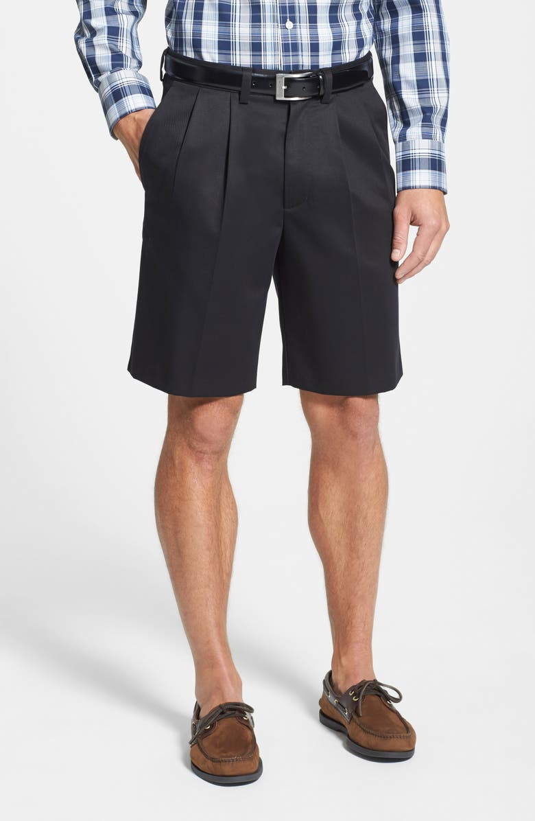 NORDSTROM MEN'S SHOP Smartcare<sup>™</sup> Pleated Shorts, Main, color, BLACK