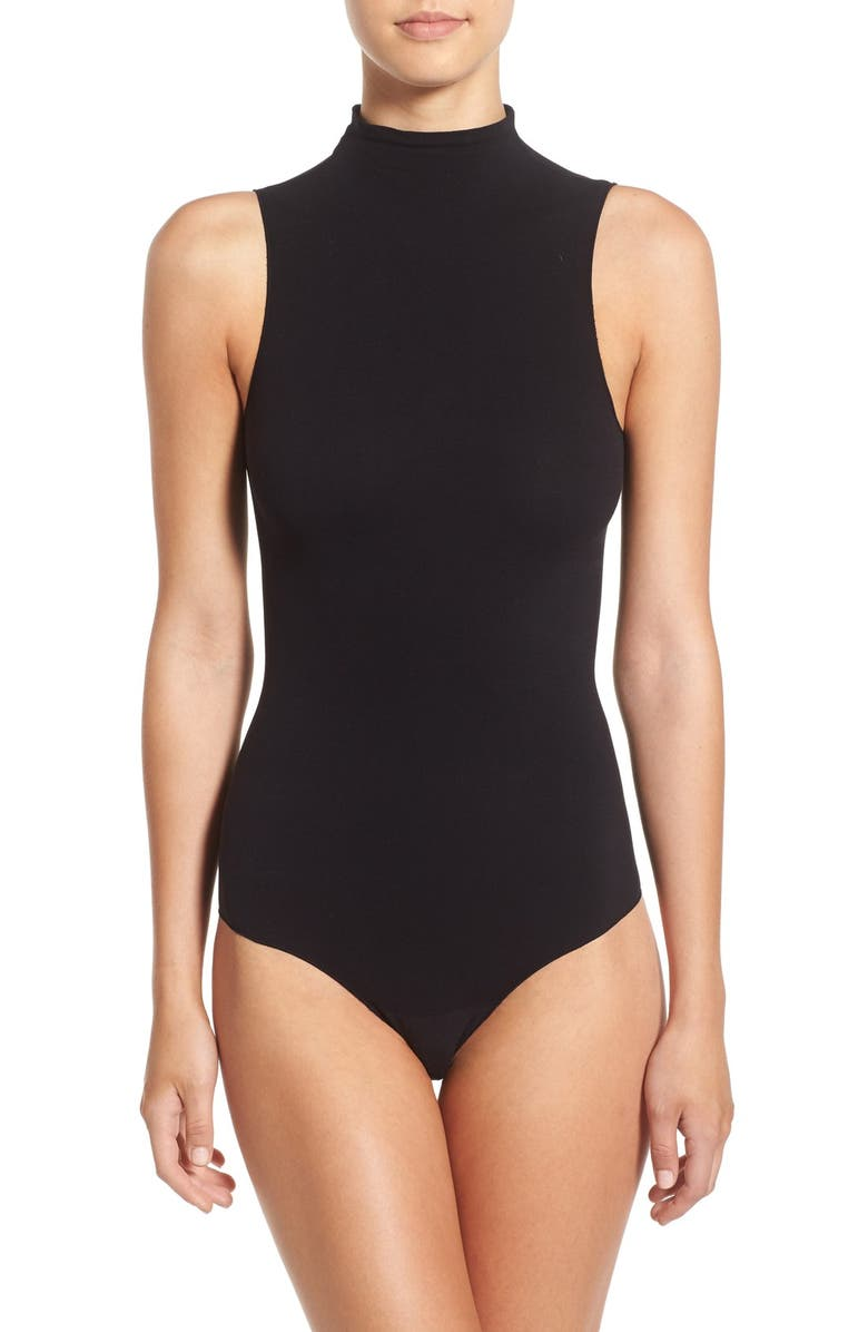 COMMANDO Ballet Body Mock Neck Thong Bodysuit, Main, color, 001
