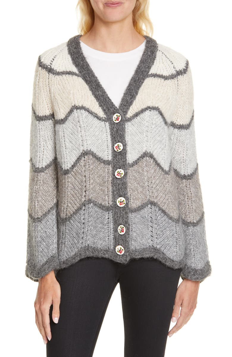 LOVESHACKFANCY Deena Cardigan Sweater, Main, color, CLOUDY GREY