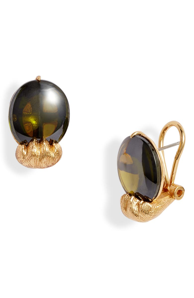 KATE SPADE NEW YORK house cat paw stud earrings, Main, color, PERIDOT