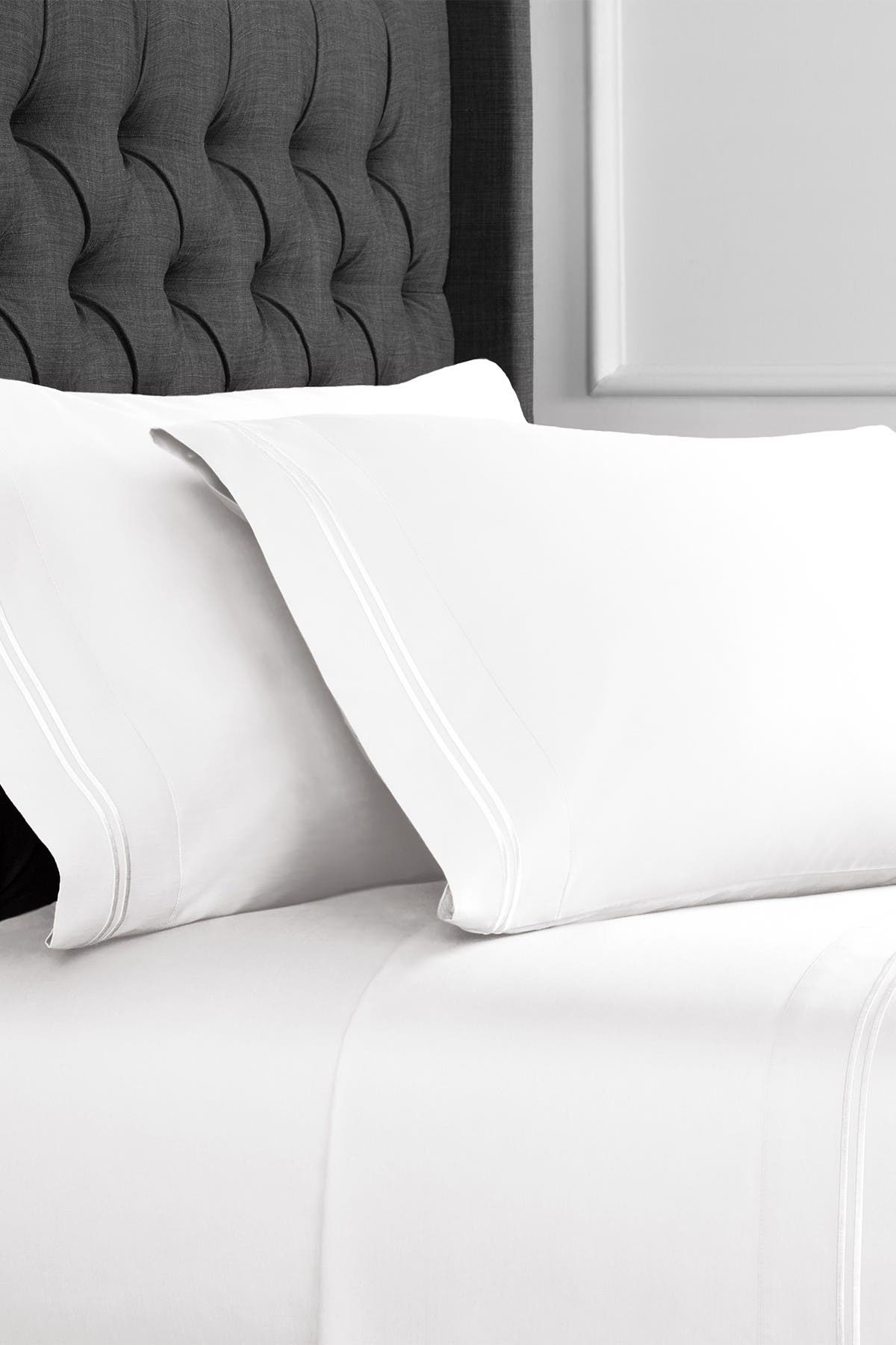 Image of Melange Home Queen 600 Thread Count Cotton Border Stripe Embroidered Sheet 4-Piece Set - White/White