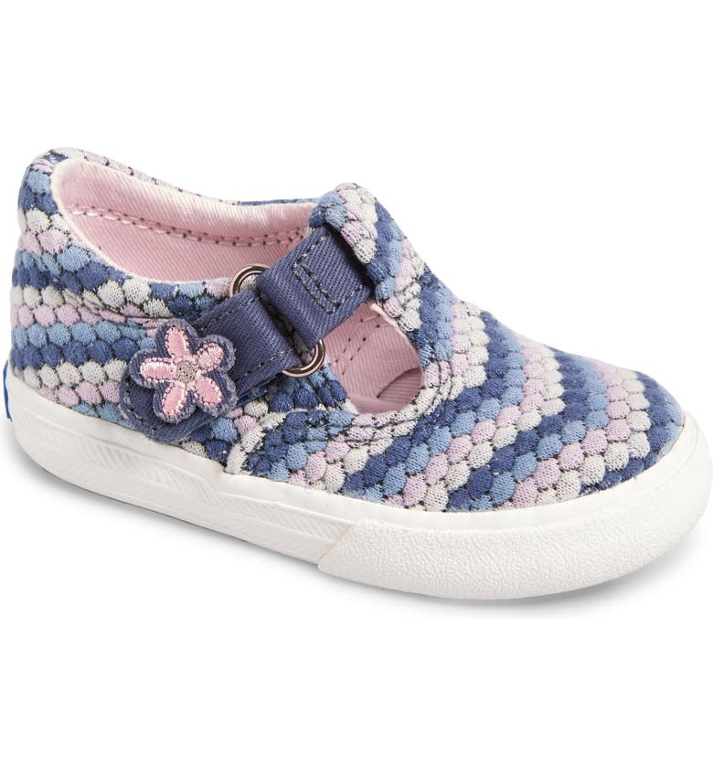 KEDS<SUP>®</SUP> Daphne T-Strap Sneaker, Main, color, BLUE DOT STRIPE