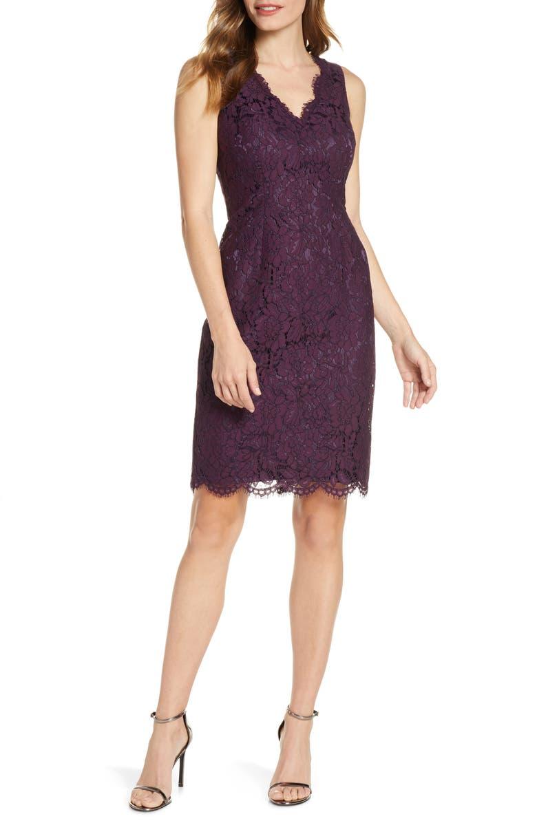 VINCE CAMUTO Lace Sheath Dress, Main, color, PLUM