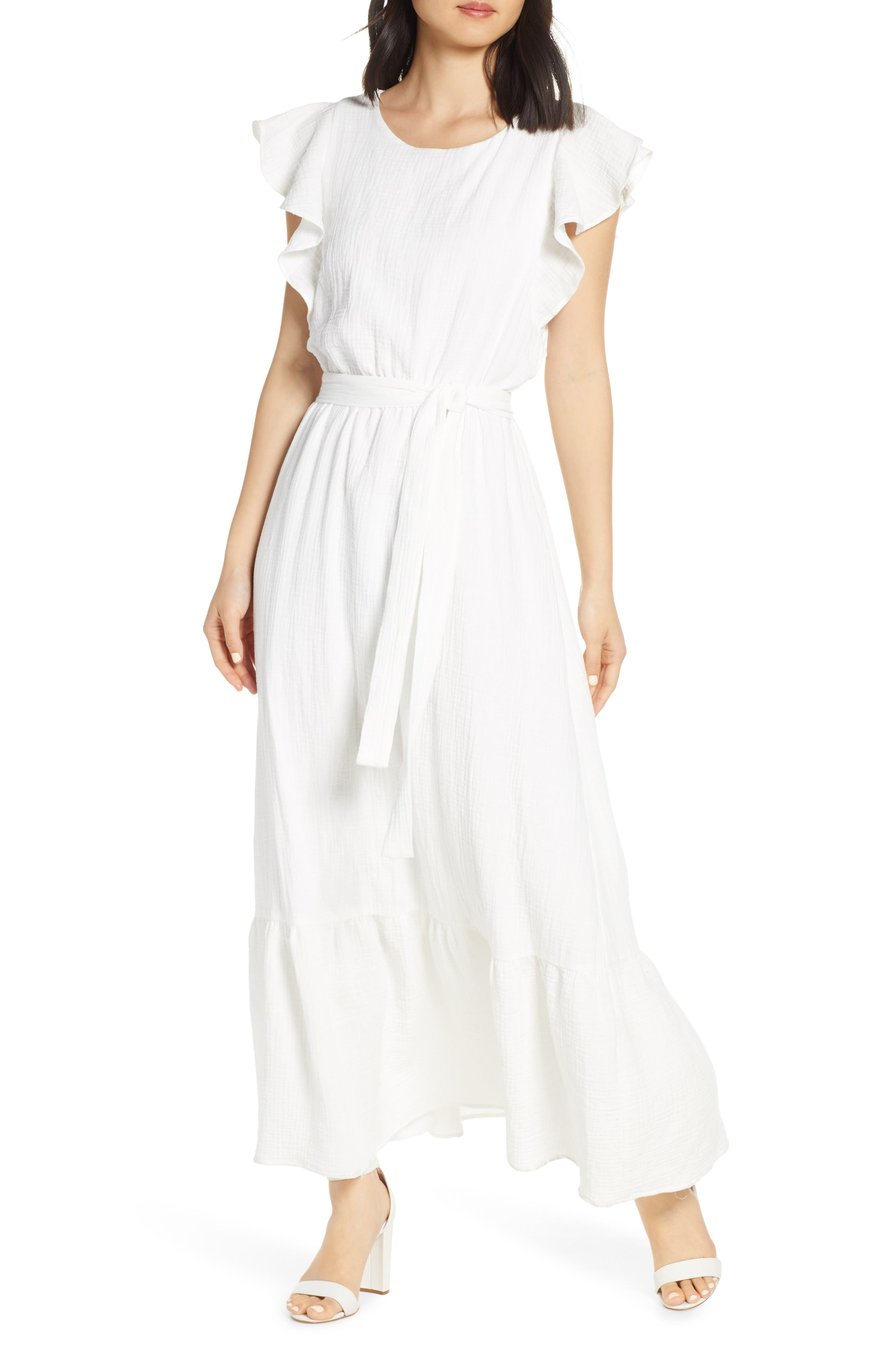 Chelsea28 Ruffle Sleeve Cotton Maxi Dress, White