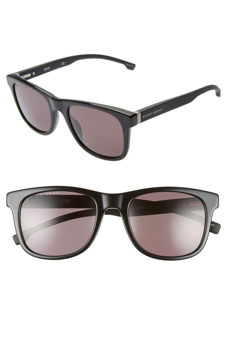 BOSS 53mm Square Sunglasses, Main, color, BLACK