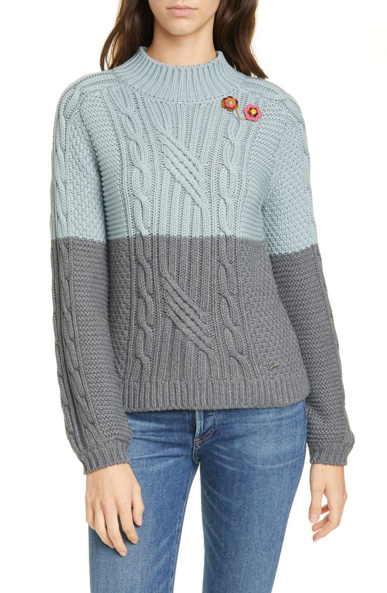 TED BAKER LONDON Colour by Numbers Slimbo Cable Knit Cotton Blend Sweater, Main, color, 421