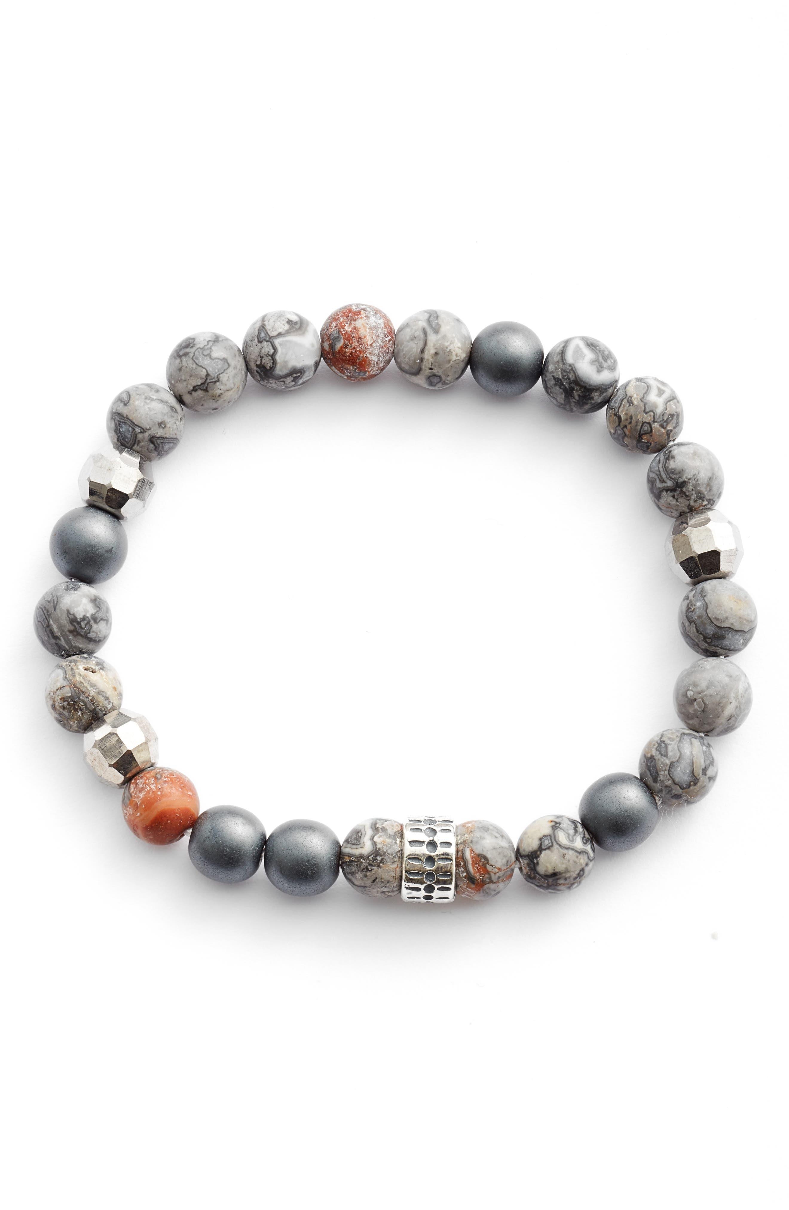 Stone & Sterling Silver Men's Stretch Bracelet