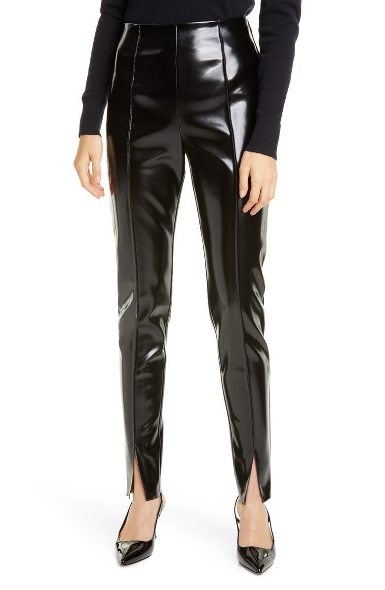 KWAIDAN EDITIONS Faux Leather Slim Pants, Main, color, BLACK