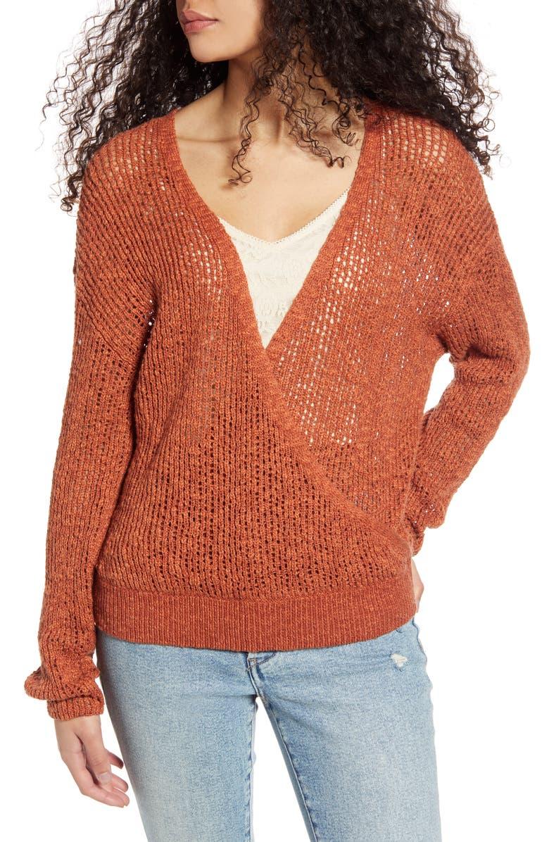 BILLABONG Sweet Bliss Wrap Front Sweater, Main, color, HENNA
