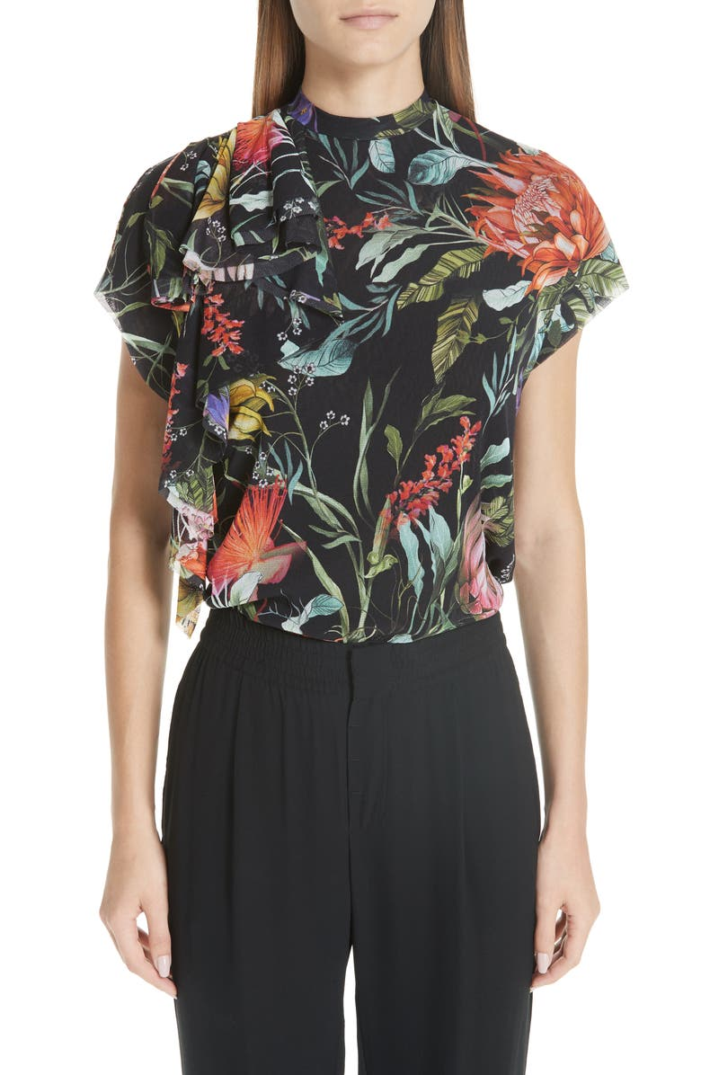 FUZZI Floral Ruffle Tulle Top, Main, color, 001