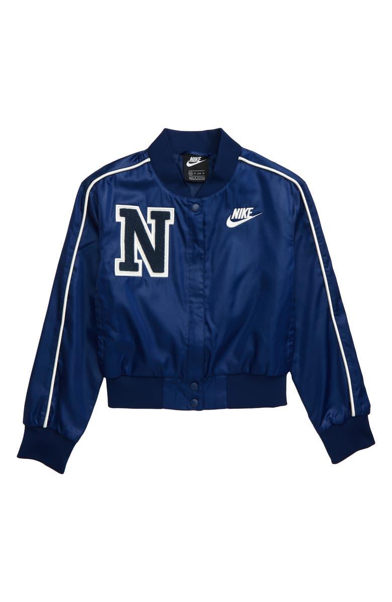 NIKE Varsity Jacket, Main, color, BLUE VOID/ MYSTIC NAVY/ SAIL
