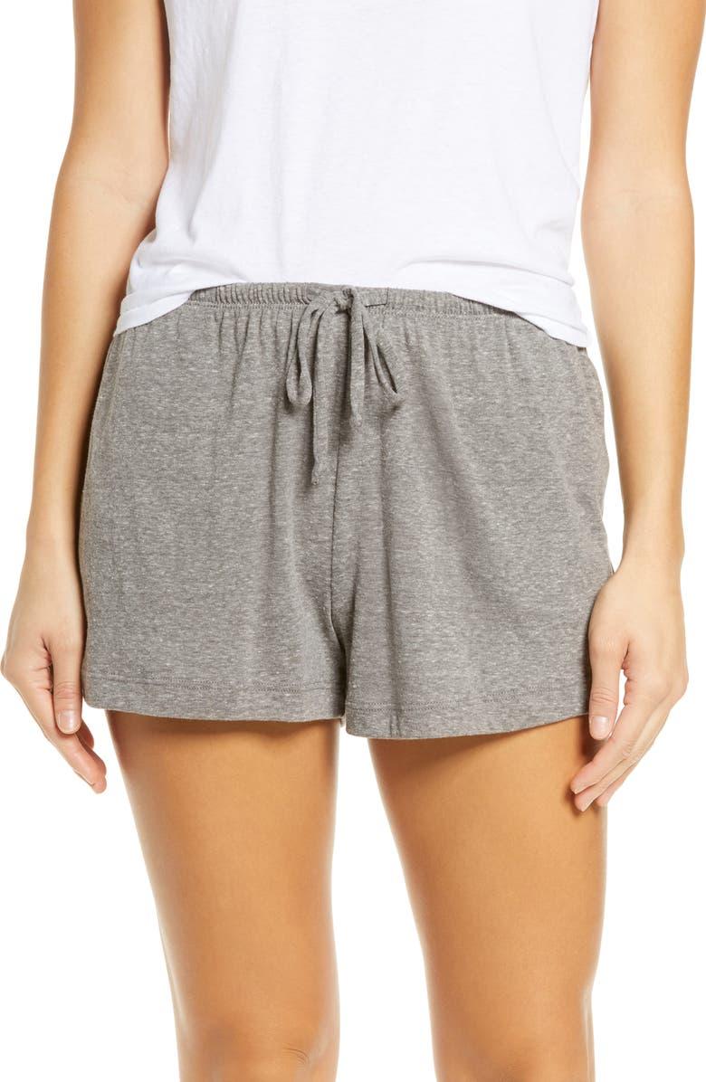 SOCIALITE Drawstring Sleep Shorts, Main, color, GREY SOLID