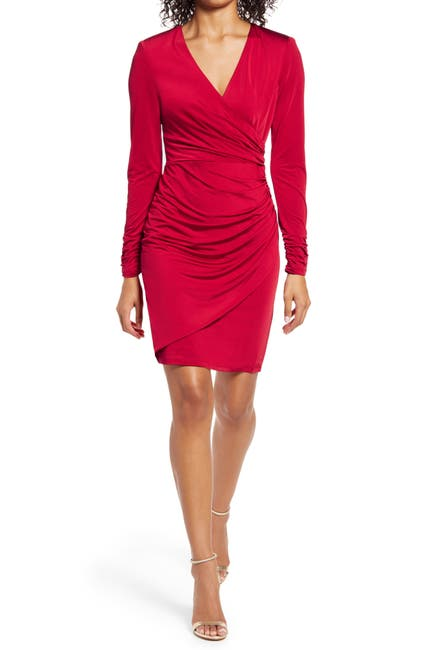 Image of Vince Camuto Wrap Front Long Sleeve Cocktail Dress